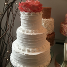 Fake 3 Tier Rustic wedding cake with flower topper