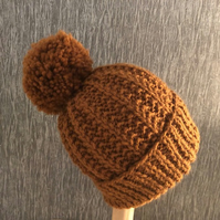 Hand Knitted Rustic Brown Baby Pom Pom Hat - Newborn to 18-24 Months