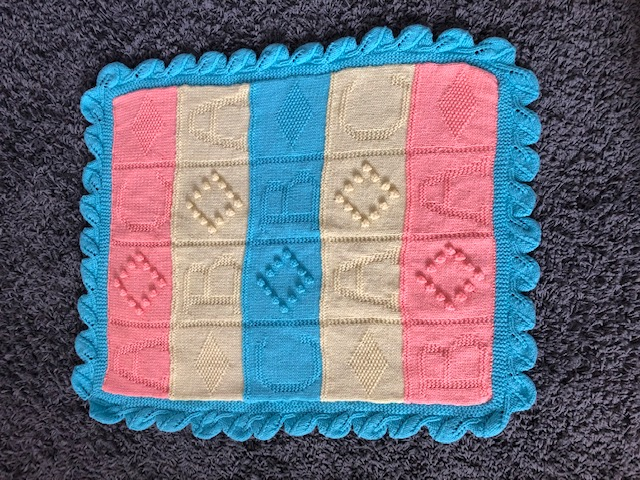 Hand Knitted ABC Baby Motif Blanket - Pastel Multicoloured