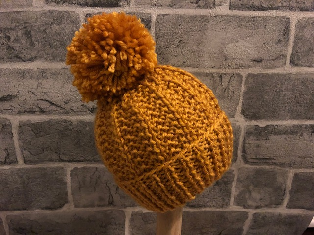 Hand Knitted Mustard Baby Pom Pom Hat - Various Sizes Available