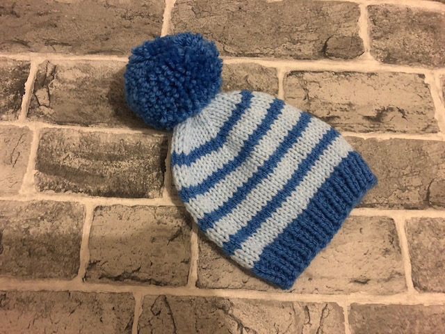 Hand Knitted Stripy Blue Aran Baby Pom Pom Hat -  Newborn to 18-24 Months