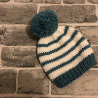 Hand Knitted Stripy Turquoise And White Aran Baby Pom Pom Hat - Various Sizes