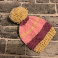 Hand Knitted Stripy Pink And Cream Aran Baby Pom Pom Hat - Various Sizes