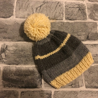 Hand Knitted Stripy Grey And Cream Aran Baby Pom Pom Hat - Various Sizes