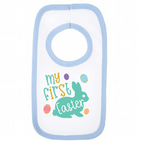 My First Easter 100% Cotton Baby Bib - 0-3 Months (White & Blue)