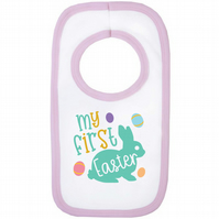 My First Easter 100% Cotton Baby Bib - 0-3 Months (White & Pink)