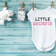 Little Geordie (Pink) - 100% Cotton Baby Vest - Various Sizes