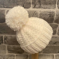 Hand Knitted White Baby Pom Pom Hat - Various Sizes Available