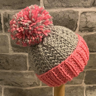 Hand Knitted Grey & Pink Baby Pom Pom Hat - Various Sizes Available