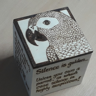 African Grey Parrot Gift Cube - pyrography hand designed