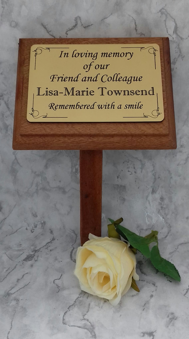 Solid Wooden Mahogany Memorial Stake Grave-Tree Marker- Memorial Plaque