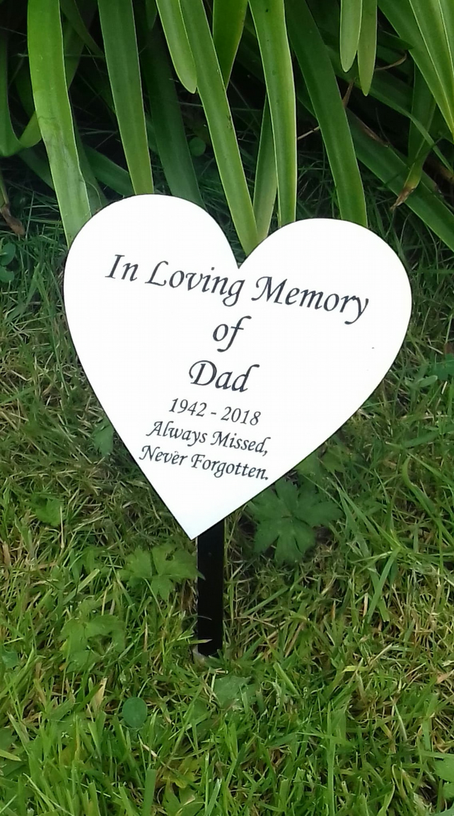 Engraved Memorial Garden Marker Personalized Marker Heart Memorial Plaque