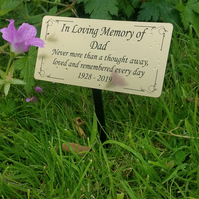 Memorial Grave Cremation etc Tree Plant Marker Stake Engraved  Plaque