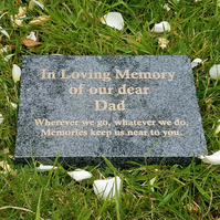 Flat Grave Marker Engraved Grey Granite Memorial Plaque Flat Grave CemeteryStone