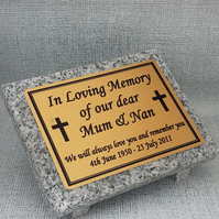 Personalised Granite Memorial Grave Plaque stone Grave Marker Any Wording