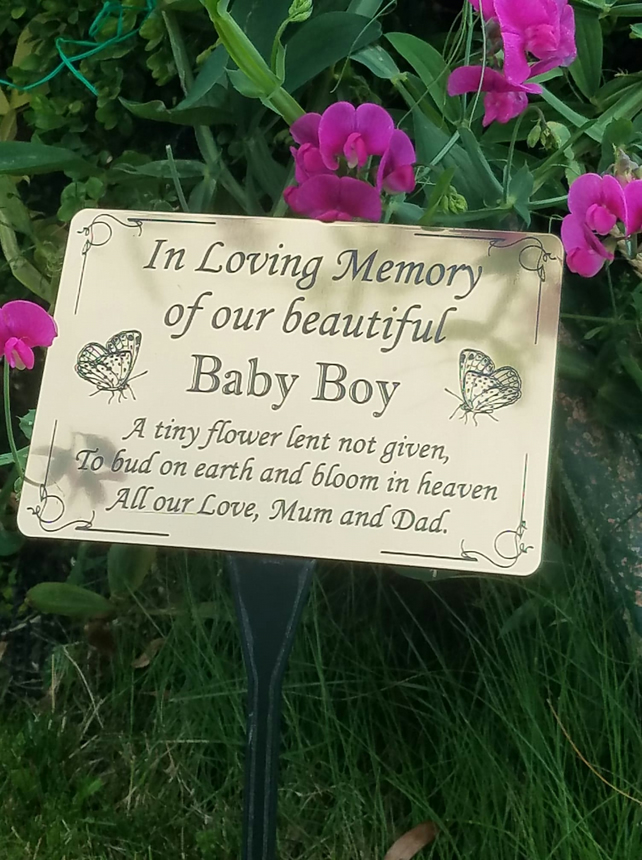 PERSONALISED MEMORIAL GRAVE PLAQUE WITH BUTTERFLIES BABY GRAVE CEMETERY PLAQUE