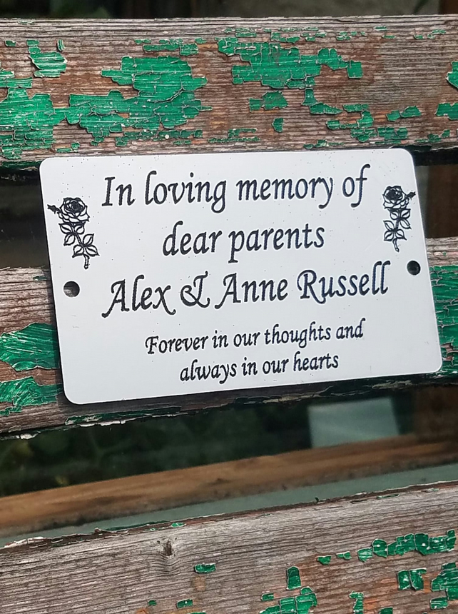 Engraved Memorial Stainless Steel Bench Plaque Memorial Commemorative Plate