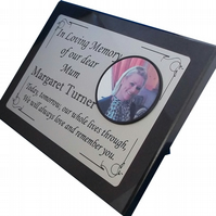 Personalised Black Granite memorial Stone grave marker photo cemetery plaque