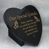Praying Hands Memorial Gravestone Marker Grave Plaque Granite Headstone Heart