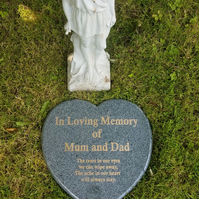 Large Engraved Dark Grey Granite Grave Plaque Stone Engraved Heart Headstone