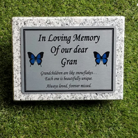 Bespoke Grey Granite Memorial Grave Marker Cemetery Plaque Memorial Grave Stone
