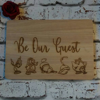 Beauty and the beast inspired chopping board be our guest Belle Enchanted Rose