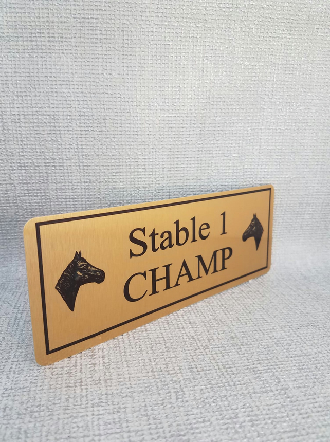 Bespoke Gold Horse Name Plaque Stable Door 200mmX75mm