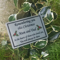 Custom Christmas Memorial Stake Grave Tree Marker Cremation Plaque