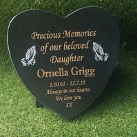 Bespoke Memorial Grave  Marker Grave Plaque Granite Headstone Heart Memorial