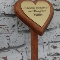 Memorial marker,Wooden Heart Remembrance Plaque Engraved Memorial Tree Plaque