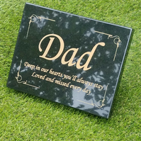 Personalised Engraved Natural Granite Memorial Plaque Grave Marker Headstone