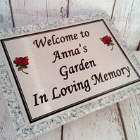 Memorial Garden Plaque Granite remembrance marker Grave ornament Cemetery plaque