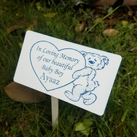 Personalised Bear babyloss baby memorial plaque grave marker Grave Plaque