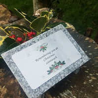 Christmas Grey Granite Memorial Grave Plaque Stone Holly Wreath Alternative