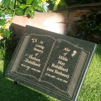 Memorial Grave Plaque Stone Engraved Bible Headstone Open Book Granite Marker