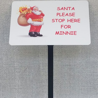 Personalised Santa Sign Please Stop Here Christmas Plaque WEATHERPROOF METAL