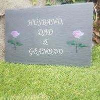 Engraved Dark slateGarden Memorial Plaque Flat Grave Stone Marker