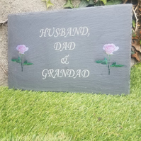 Bespoke slate Garden memorial Plaque Remembrance Marker Cemetery Grave Plaque