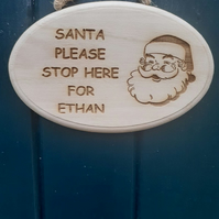 ECO Santa Please Stop Here Personalised Wooden Christmas Xmas Door Sign Plaque