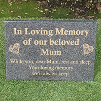 Large Engraved Dark Grey Granite Memorial Plaque Grave Stone Marker Headstone