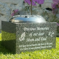 Personalised Granite Memorial Vase Grave Rose Bowl Grave Ornament Cemetery Vase