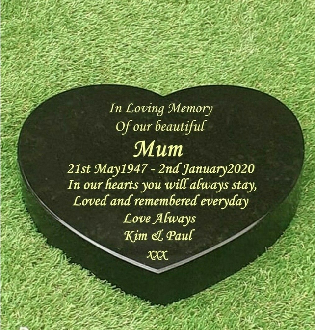 Memorial stone gravestone granite heart headstone personalised grave plaque