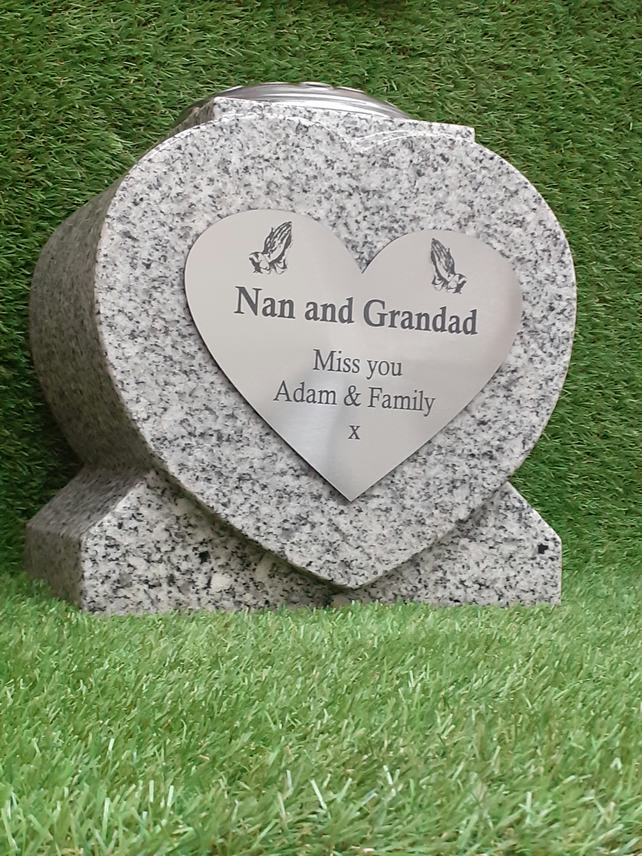 Granite Memorial Heart Vase Grave Memorial Granite Flower Vase Cemetery Stone