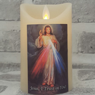 DIVINE MERCY LED CANDLE Scented Vanilla wax Candle JESUS I Trust in You Christ