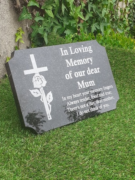 Engraved Personalised Black Granite Memorial Grave Plaque Cemetery Stone Plaque