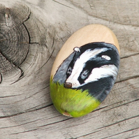 Hand painted wooden focal bead - Badger, 35 x 20mm