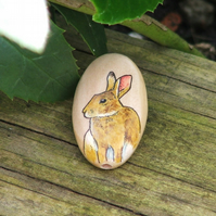 Hand painted wooden focal bead - Rabbit, 35 x 20mm