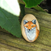 Hand painted wooden focal bead - Red Fox, 35 x 20mm