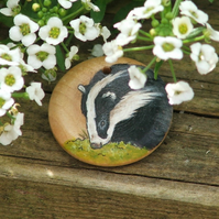 Hand painted wooden pendant - Badger, 30mm