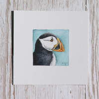 Original Watercolour Miniature - Puffin painting
